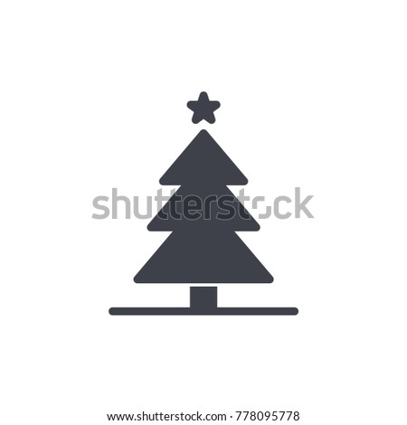 christmas tree icon glyph - Christmas Tree Icon Glyph Stock Vector (Royalty Free) 778095778