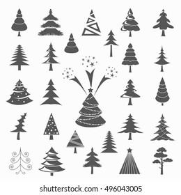 Christmas tree icon set. Flat design. Monochrome version. Vector illustration