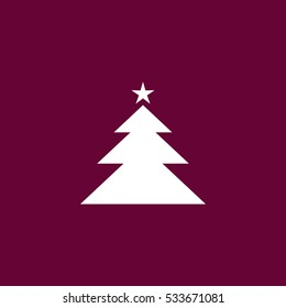 Christmas tree icon simple winter sign vector illustration