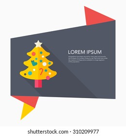 Christmas tree icon, vector illustration. Flat design style with long shadow,eps10