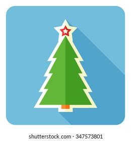 Christmas tree icon. Vector illustration. Flat design.