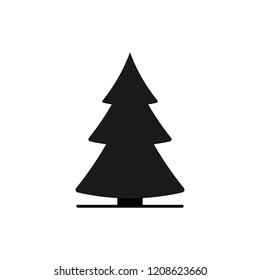 Christmas tree icon, Xmas symbol, flat design template, vector illustration