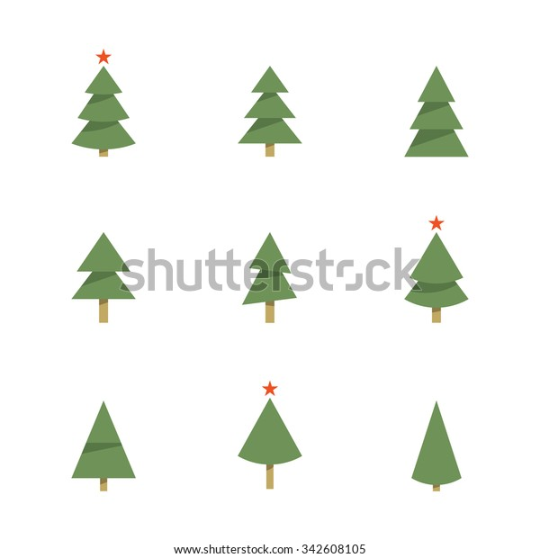 Christmas Tree Vector Image.Christmas Tree Icons Pine Tree Vector Stock Vector Royalty