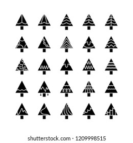 Christmas tree icons set for decoration card design