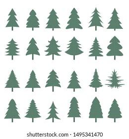 Christmas Tree Icons Set. Vector tree christmas green, traditional symbol to new year illustration.  Vector Illustration
