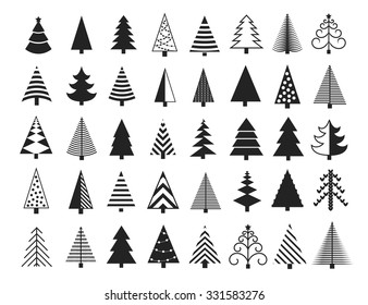 Christmas Tree Icons Set. Vector Illustration