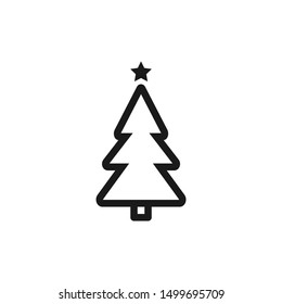 Christmas tree icons in simple line style design suitable for Christmas ornament, website, app, and user interface design on white background. Pixel Perfect 48x48. Vector illustration EPS 10.