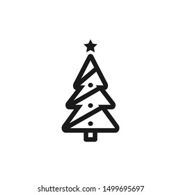 Christmas tree icons with star in line style design suitable for Christmas ornament, website, app, and user interface design on white background. Pixel Perfect 48x48. Vector illustration EPS 10.