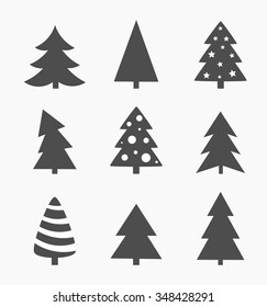 Christmas Tree Icons Vector Illustration