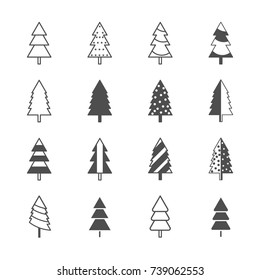 Christmas tree icons. Vector illustration
