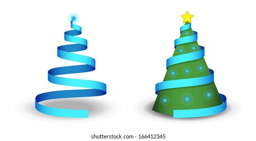 Christmas tree illustration with ribbon, lights and shadow