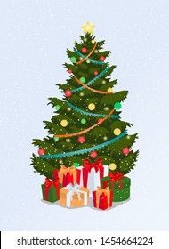 Christmas tree isolated on white background. Vector
