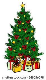 Christmas tree isolated on white. Hand drawn colorful sketch