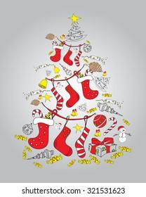 Christmas tree. Tree of Christmas items