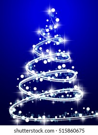 Christmas tree from light background. Greeting card or invitation. Eps 10.