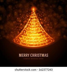 Christmas tree from light background. Vector illustration Eps 10. Greeting card or invitation.