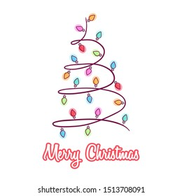 Christmas Tree With Light Bulb Garland Shape for Decoration