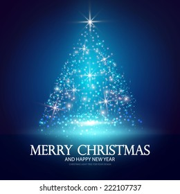 Christmas tree from light for your business website. Vector illustration
