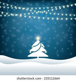 christmas tree lighted garlands. festive background
