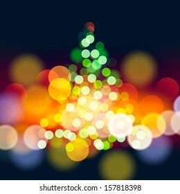 Christmas tree lights background, vector illustration.
