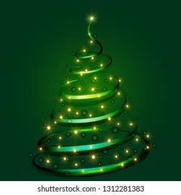 christmas tree, lights, green