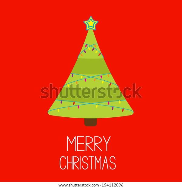 Christmas tree with lights. Merry Christmas card. Vector illustration.