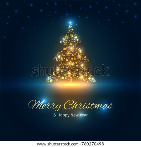 christmas tree with lights christmas and new year greeting card vector illustration with well