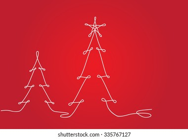 Christmas tree line design. Continuous line drawing vector.