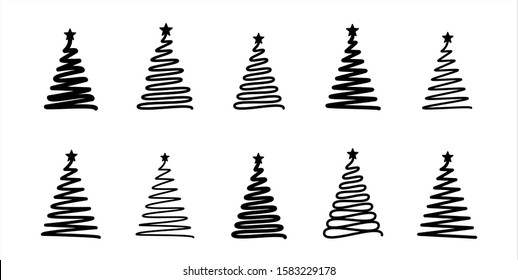 Christmas tree. Line draw scribbled stylized set. Decorative vector mobochrome elements collection, holiday black sign on white