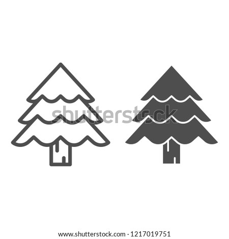 Christmas tree line and glyph icon. Fir-tree vector illustration isolated  on white. - Christmas Tree Line Glyph Icon Firtree Stock Vector (Royalty Free