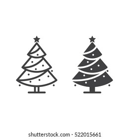 Christmas tree line icon, decorated conifer outline and filled vector sign, linear and full pictogram isolated on white, logo illustration