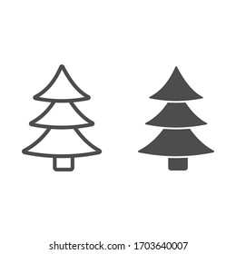 Christmas tree line and solid icon. Decorated conifer outline style pictogram on white background. New Year firtree for mobile concept and web design. Vector graphics