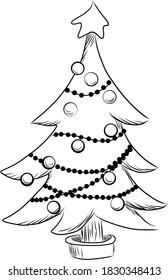 christmas tree line vector illustration