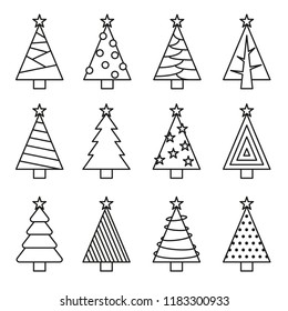 Christmas tree line vector set. Concept tree icon collection
