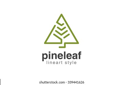 Christmas Tree Logo design vector template linear style.