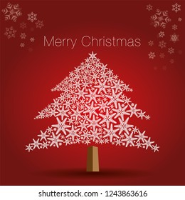 Christmas tree made from beautiful snowflakes on red background. decoration for greeting card Happy New Year Christmas