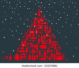 Christmas tree made with bright red wine bottles and glasses of different sizes and forms on a dark blue background with snowflakes falling from the sky - vector illustration