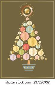 Christmas tree made up of circles and stars