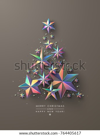 Christmas Tree Made Colourful Holographic Stars Stock Vector ...