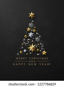 Christmas Tree made of Cutout Gold Foil and White Paper Stars, Silver Glitter Snowflakes and Beads on Black Background. Chic Christmas Greeting Card.