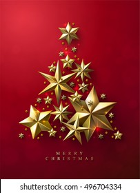 Christmas Tree made of Cutout Gold Foil Stars on Red Background. Chic Christmas Greeting Card.