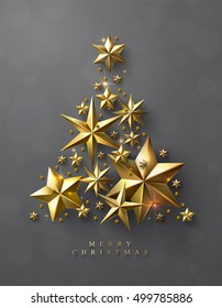 Christmas Tree made of Cutout Gold Foil Stars and Gold Beads on Grey Background. Chic Christmas Greeting Card.
