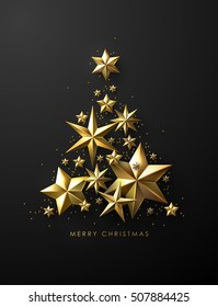 Christmas Tree made of Cutout Gold Foil Stars and Gold Beads on Black Background. Chic Christmas Greeting Card.