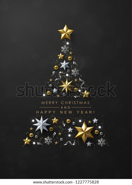 Christmas Tree made of Cutout Gold Foil and White Paper Stars, Silver Glitter Snowflakes and Beads on Black Background. Chic Christmas Greeting Card