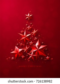 Christmas Tree made of Cutout Red Foil Stars on Red Background. Chic Christmas Greeting Card.