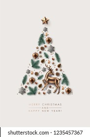 Christmas Tree made of Festive Elements, Pine Branches, Glass Decorations and Sparkling Snowflakes. Flat lay, top view.