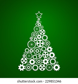 Christmas tree made from gears set, eps10 vector concept of corporate Christmas