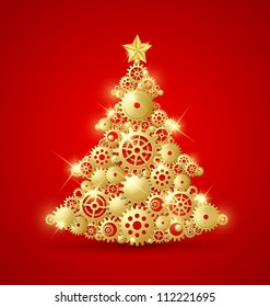 Christmas tree made of golden cogwheels and decorated with star on top