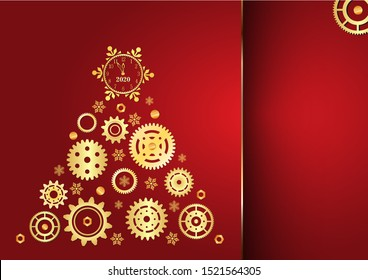 Christmas tree made of golden cogwheels with clock on top