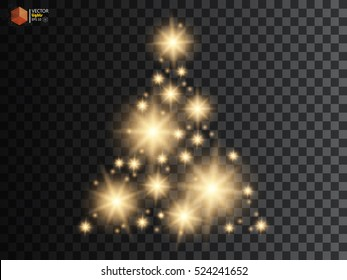 Christmas Tree made, Golden glitter bokeh lights and sparkles. Shining star, sun particles and sparks with lens flare effect on transparent background